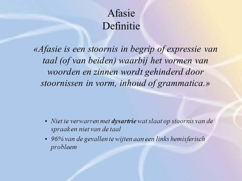 Afasie Definitie