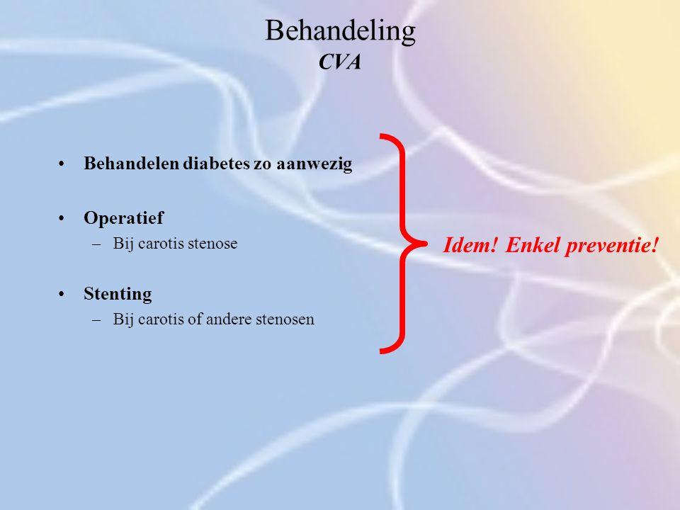 Behandeling CVA Idem! Enkel preventie! Behandelen diabetes zo aanwezig