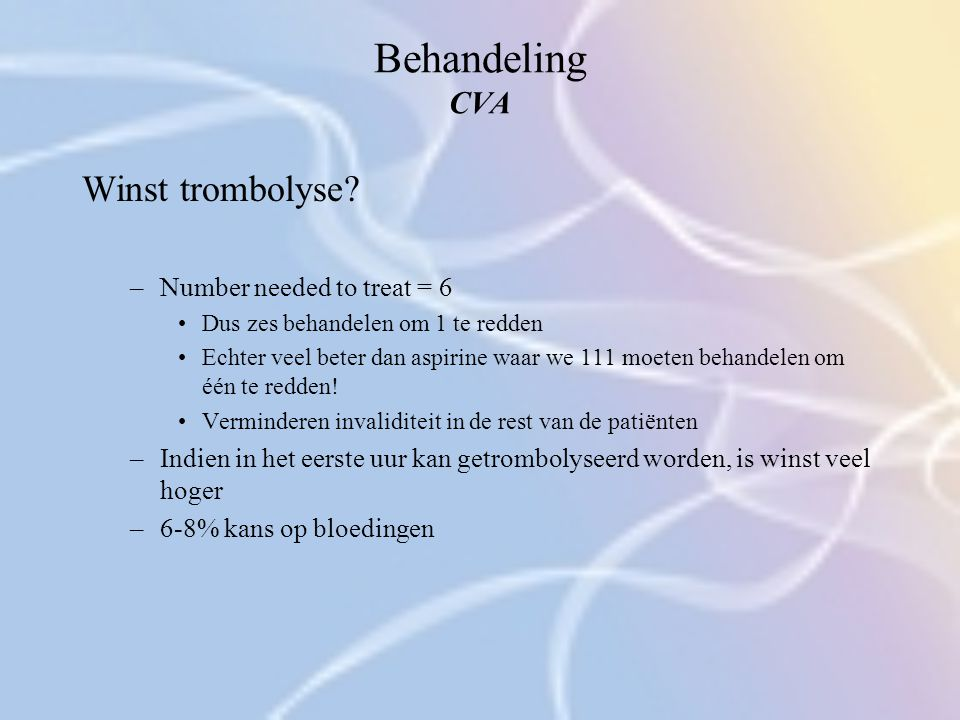 Behandeling CVA Winst trombolyse Number needed to treat = 6