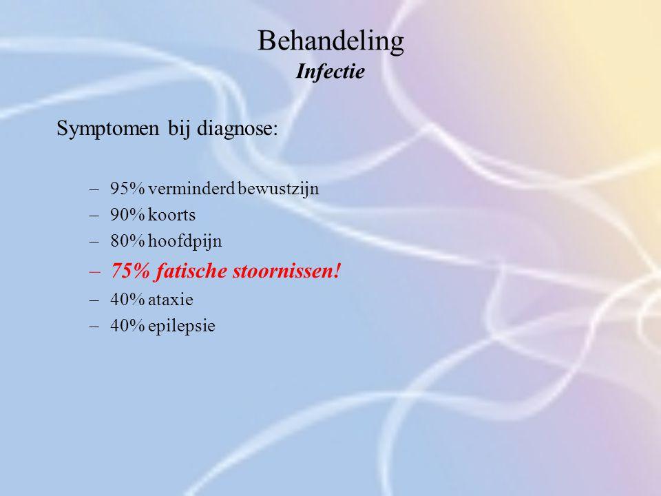 Behandeling Infectie Symptomen bij diagnose: 75% fatische stoornissen!