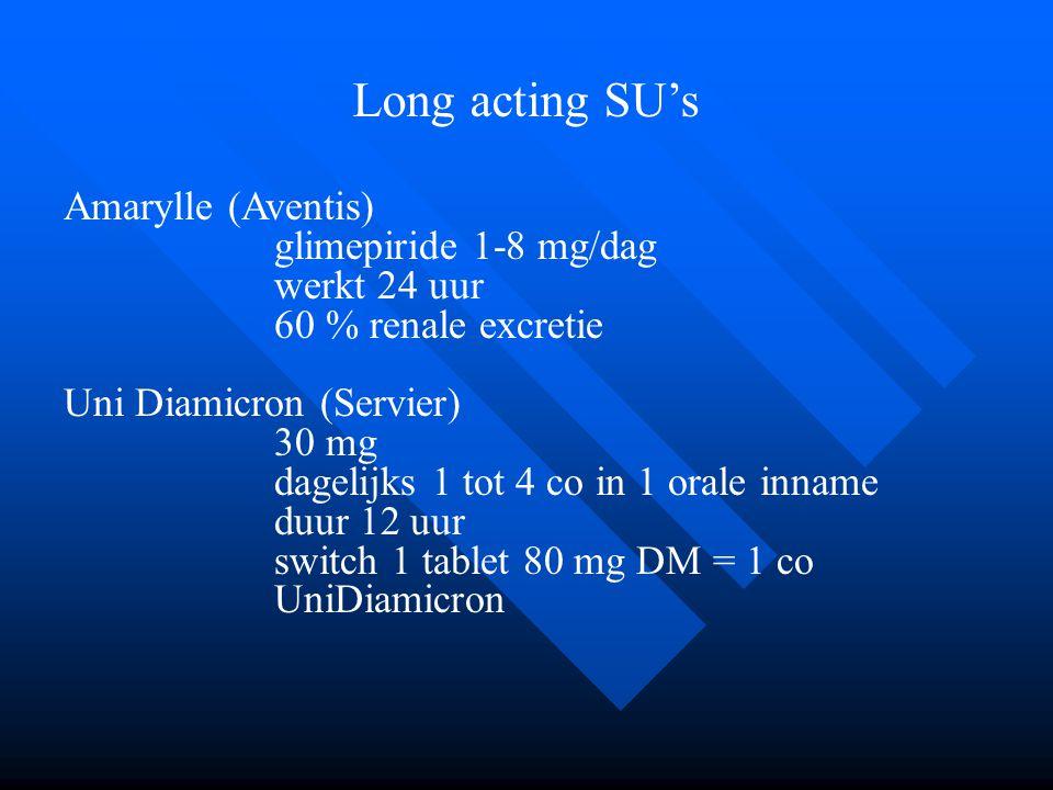 Long acting SU's Amarylle (Aventis) glimepiride 1-8 mg/dag