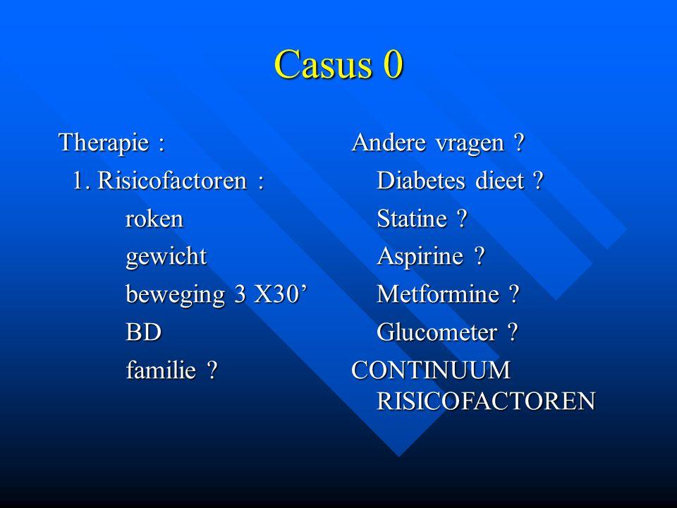 Casus 0 Therapie : 1. Risicofactoren : roken gewicht beweging 3 X30'