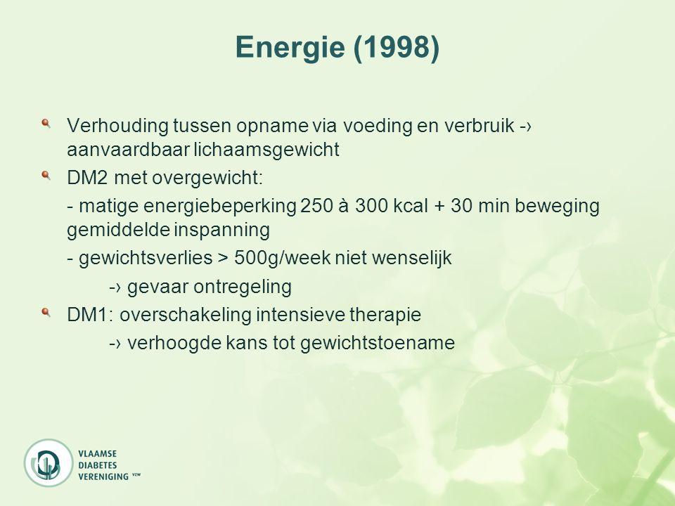 Energie (1998) Verhouding tussen opname via voeding en verbruik -› aanvaardbaar lichaamsgewicht. DM2 met overgewicht: