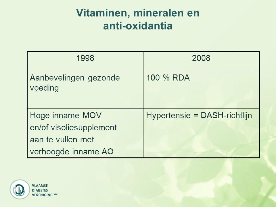 Vitaminen, mineralen en anti-oxidantia