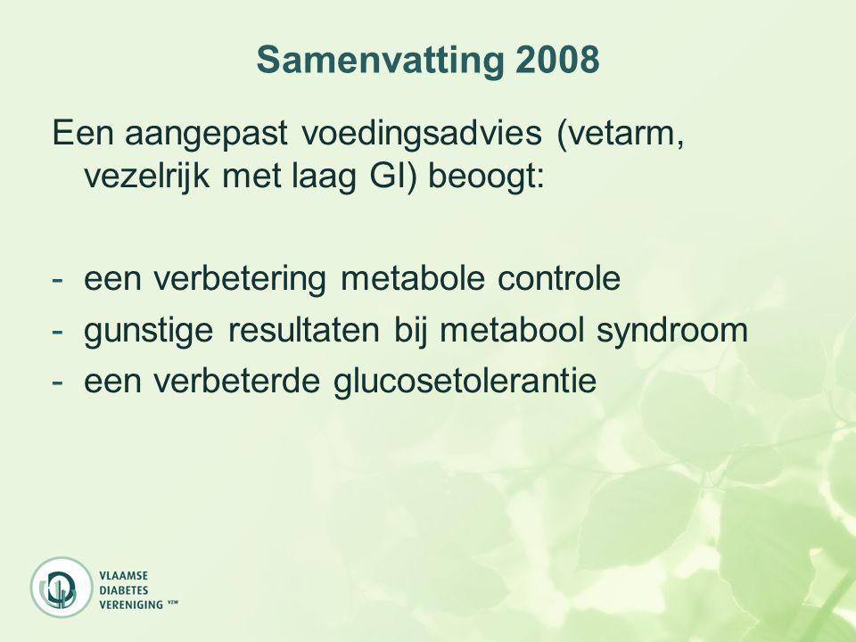 Samenvatting 2008 Een aangepast voedingsadvies (vetarm, vezelrijk met laag GI) beoogt: een verbetering metabole controle.