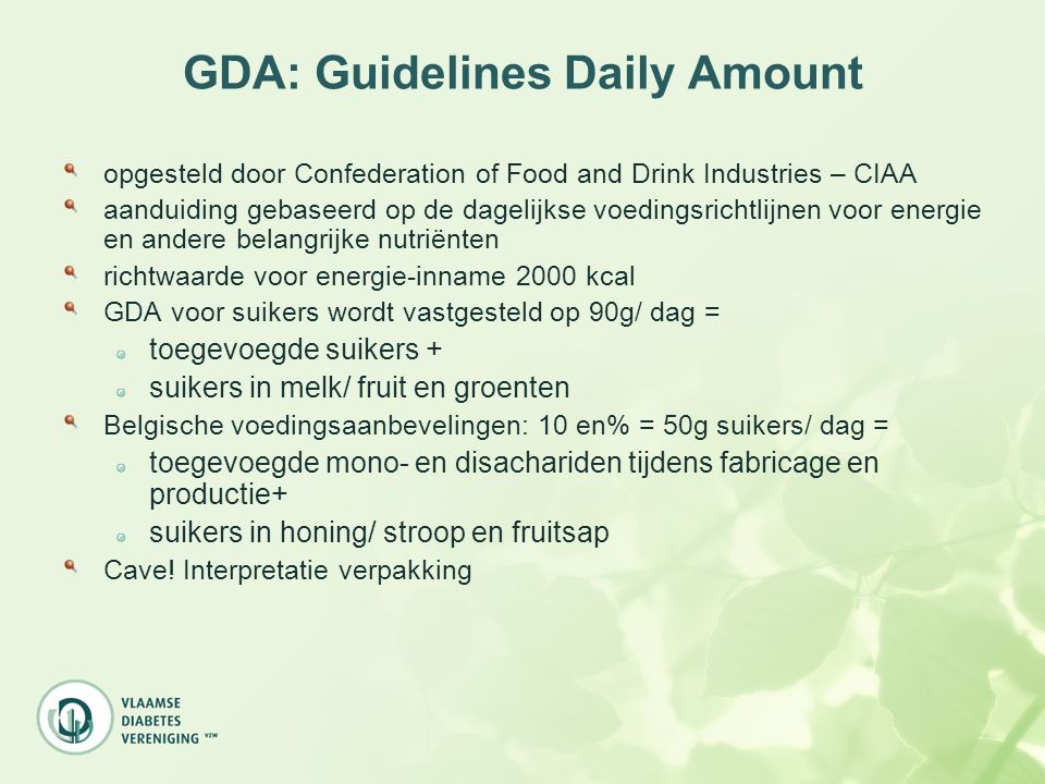 GDA: Guidelines Daily Amount