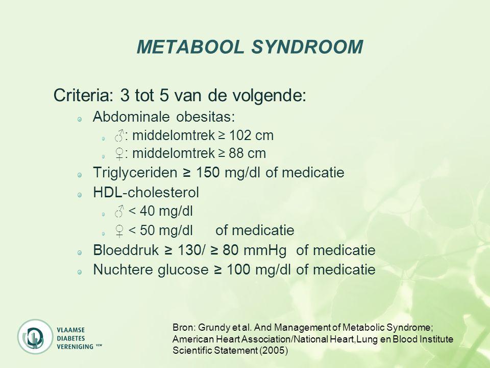 METABOOL SYNDROOM Criteria: 3 tot 5 van de volgende: