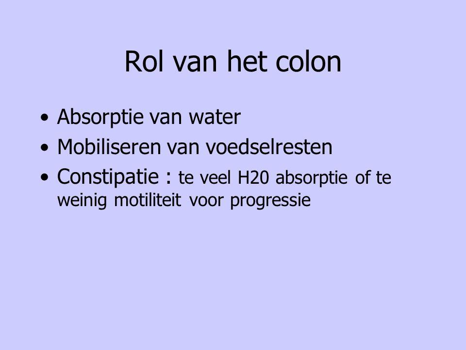 Rol van het colon Absorptie van water Mobiliseren van voedselresten