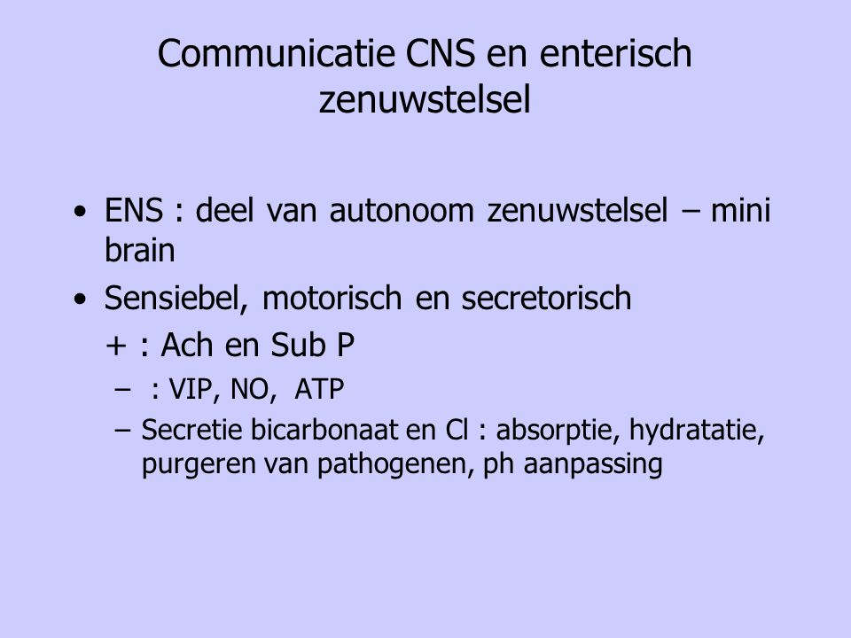 Communicatie CNS en enterisch zenuwstelsel