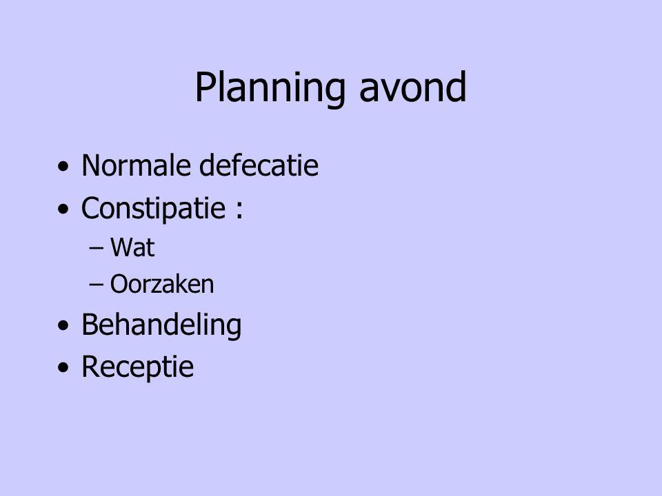 Planning avond Normale defecatie Constipatie : Behandeling Receptie