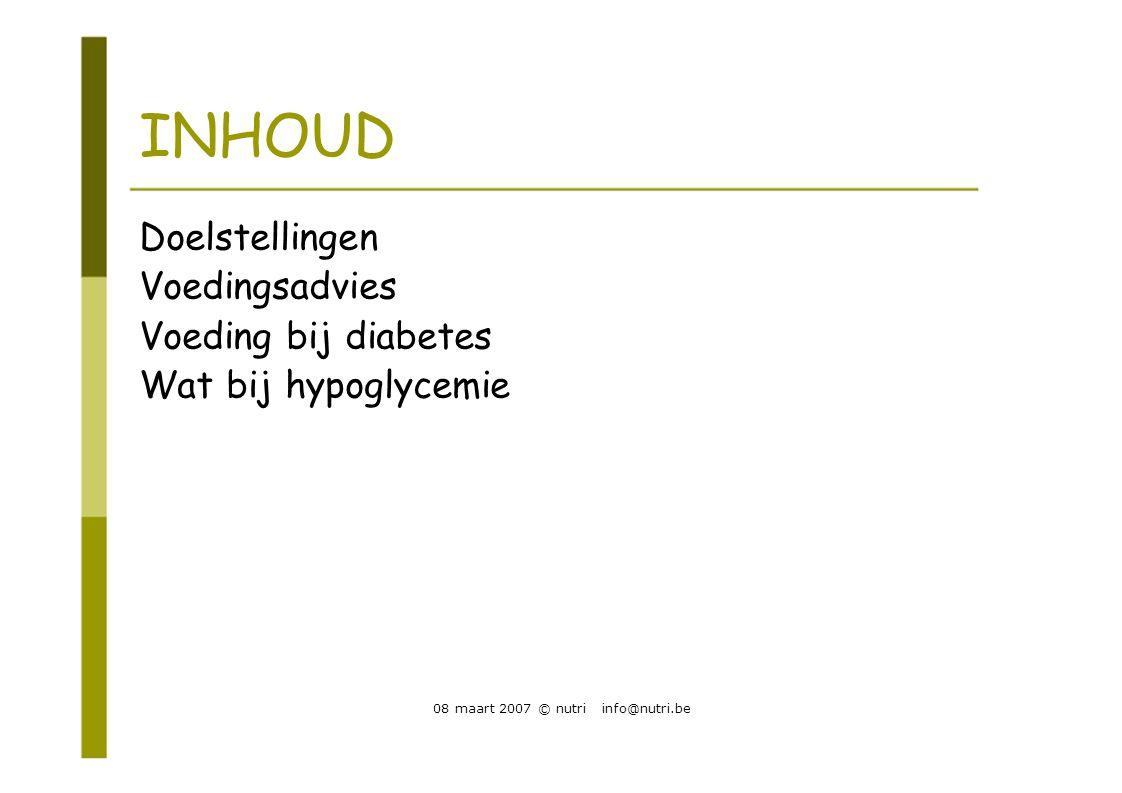 INHOUD Doelstellingen Voedingsadvies