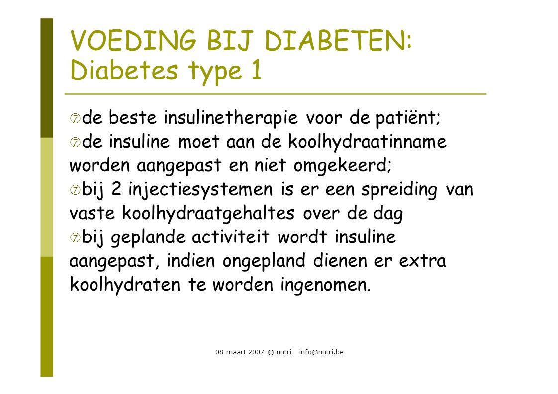 VOEDING BIJ DIABETEN: Diabetes type 1