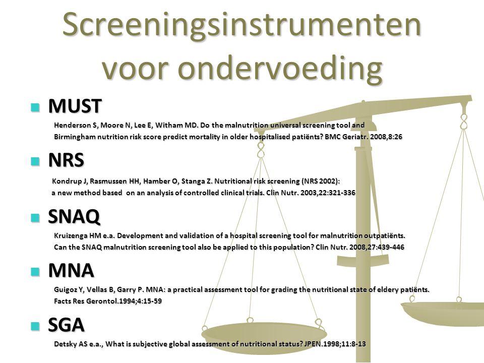 Screeningsinstrumenten voor ondervoeding