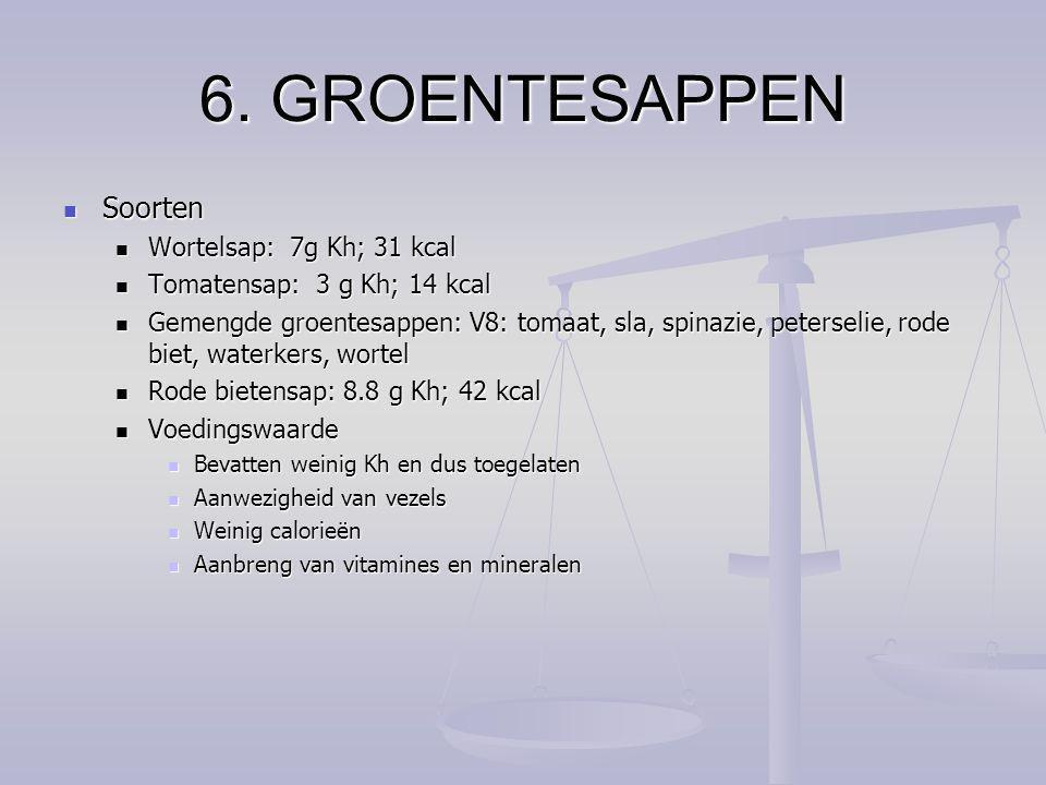 6. GROENTESAPPEN Soorten Wortelsap: 7g Kh; 31 kcal