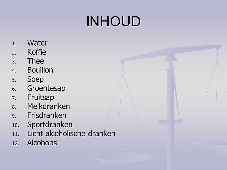 INHOUD Water Koffie Thee Bouillon Soep Groentesap Fruitsap Melkdranken