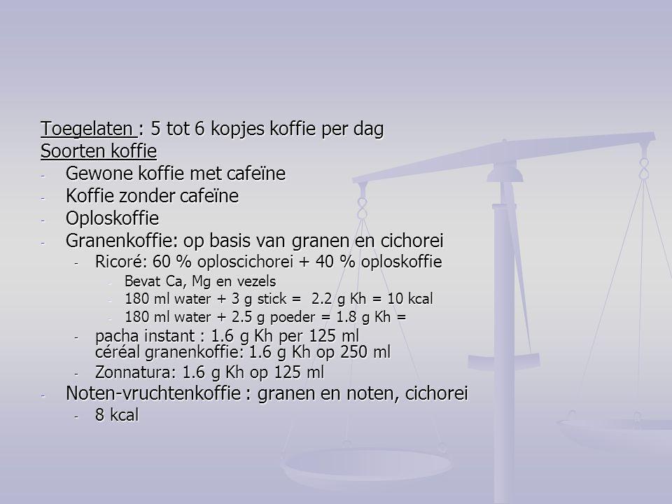 Toegelaten : 5 tot 6 kopjes koffie per dag Soorten koffie
