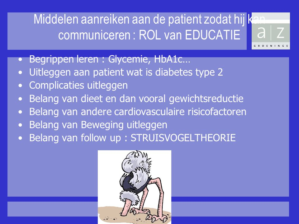 Middelen aanreiken aan de patient zodat hij kan communiceren : ROL van EDUCATIE