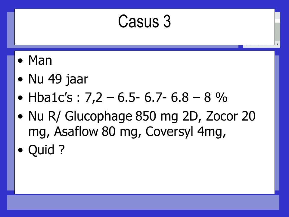 Casus 3 Man Nu 49 jaar Hba1c's : 7,2 – 6.5- 6.7- 6.8 – 8 %