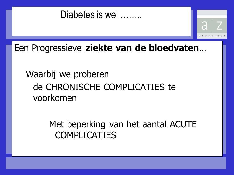 Diabetes is wel …….. Een Progressieve ziekte van de bloedvaten…