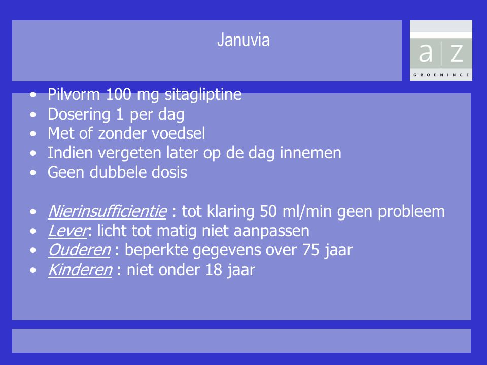 Januvia Pilvorm 100 mg sitagliptine Dosering 1 per dag