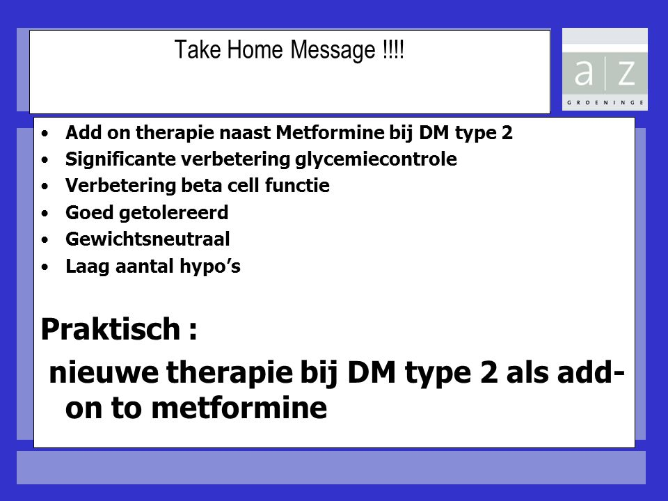 nieuwe therapie bij DM type 2 als add-on to metformine
