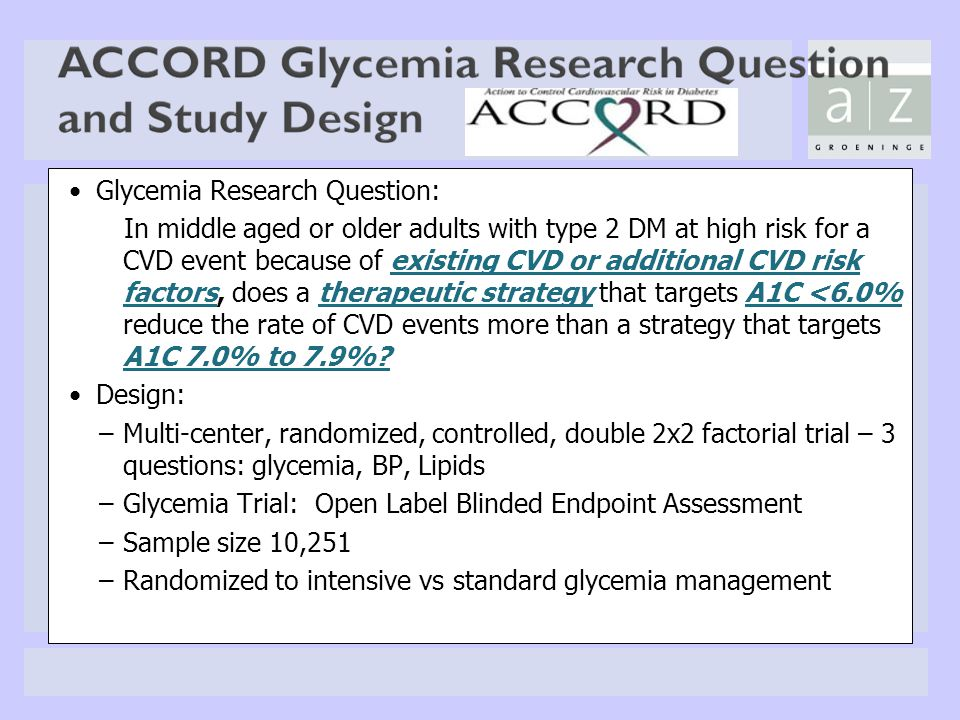Glycemia Research Question: