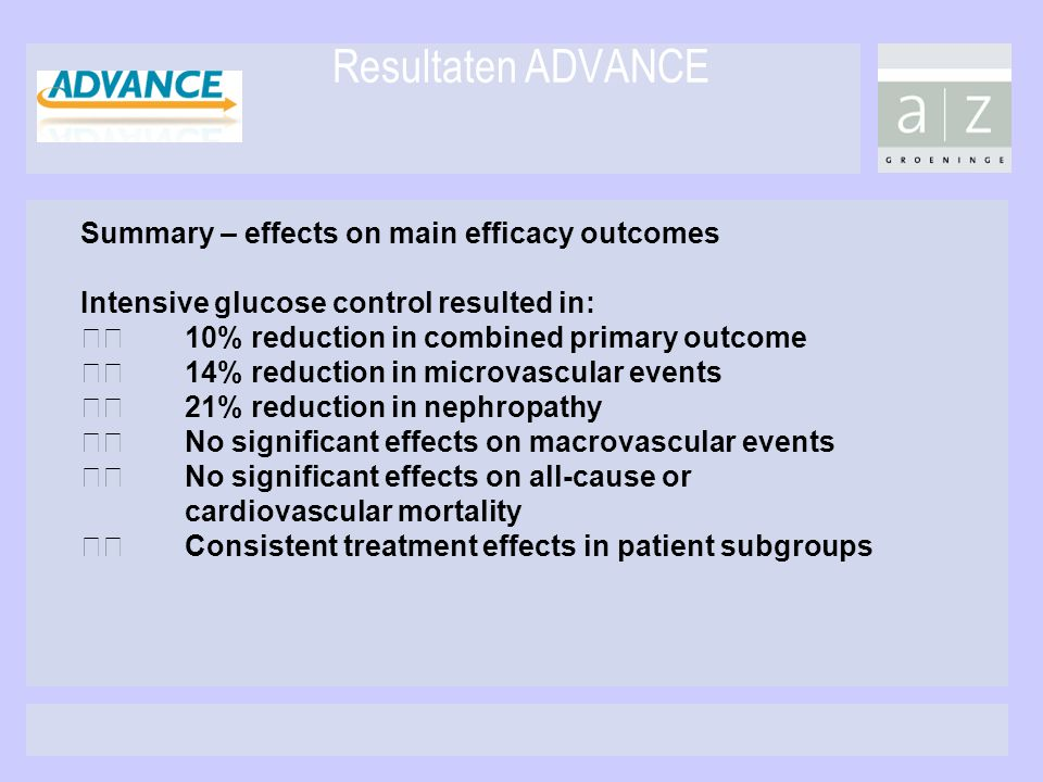 Resultaten ADVANCE Summary – effects on main efficacy outcomes