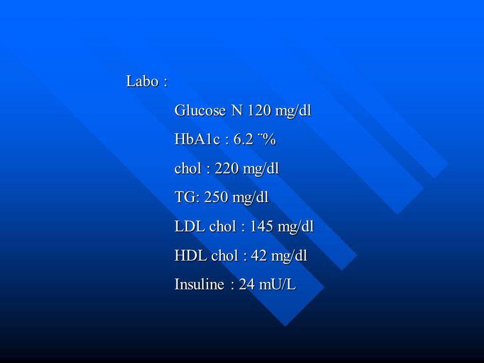 Labo : Glucose N 120 mg/dl. HbA1c : 6.2 ¨% chol : 220 mg/dl. TG: 250 mg/dl. LDL chol : 145 mg/dl.