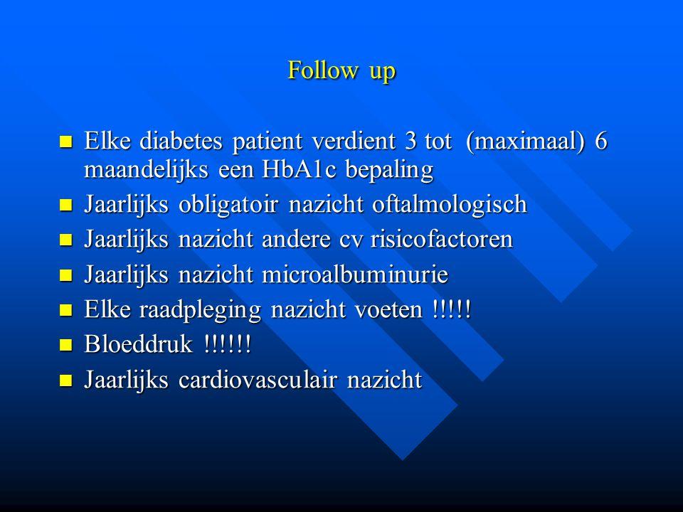 Follow up Elke diabetes patient verdient 3 tot (maximaal) 6 maandelijks een HbA1c bepaling. Jaarlijks obligatoir nazicht oftalmologisch.
