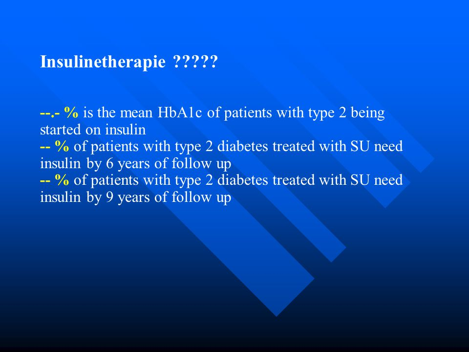 Insulinetherapie --.- % is the mean HbA1c of patients with type 2 being started on insulin.