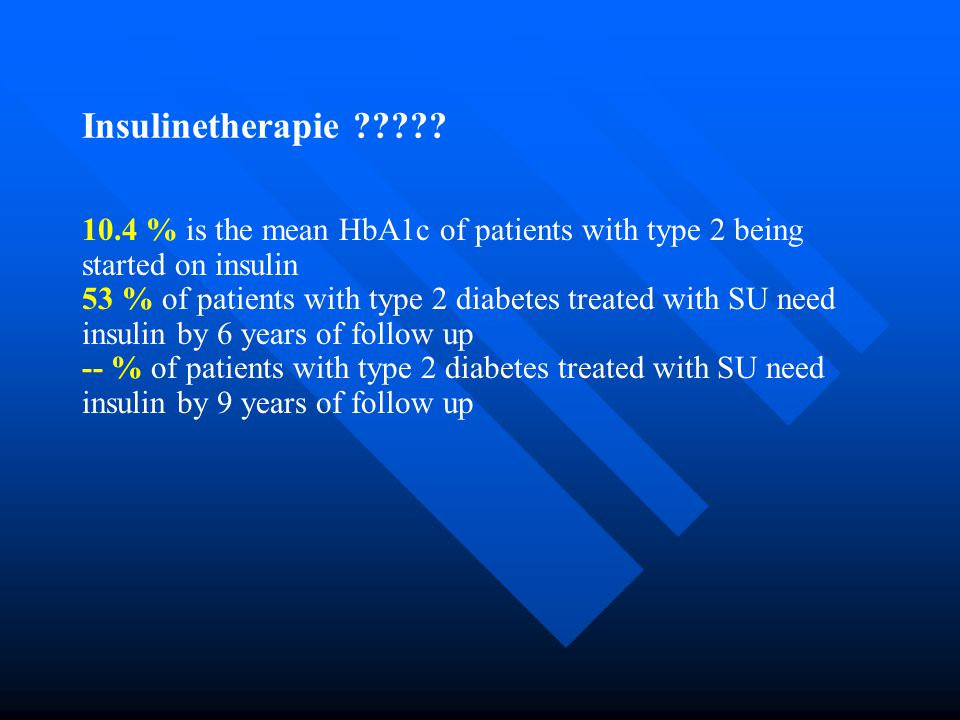 Insulinetherapie 10.4 % is the mean HbA1c of patients with type 2 being started on insulin.