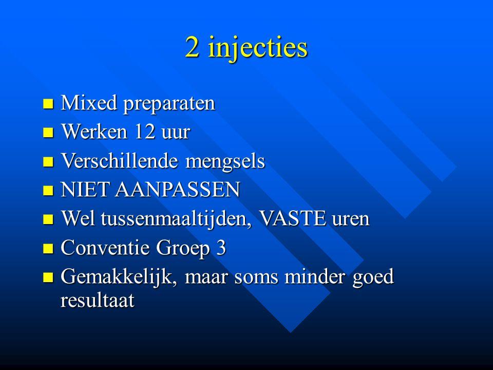 2 injecties Mixed preparaten Werken 12 uur Verschillende mengsels