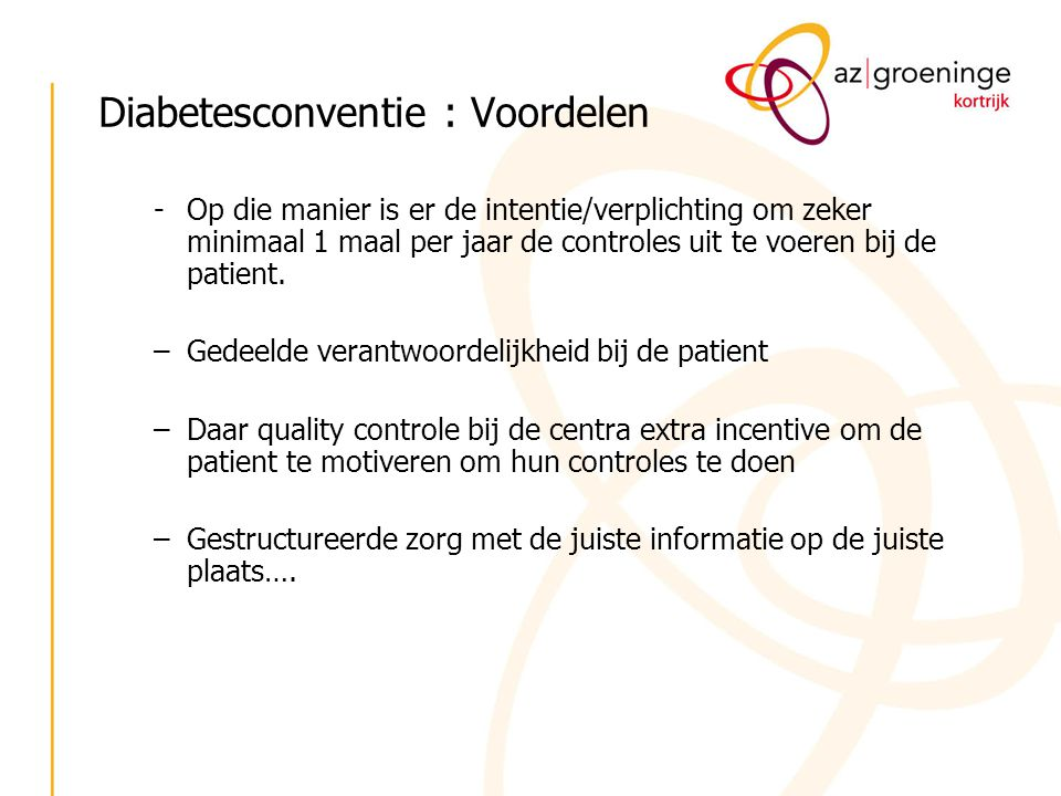 Diabetesconventie : Voordelen