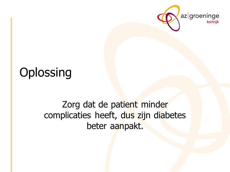 Oplossing Zorg dat de patient minder complicaties heeft, dus zijn diabetes beter aanpakt.