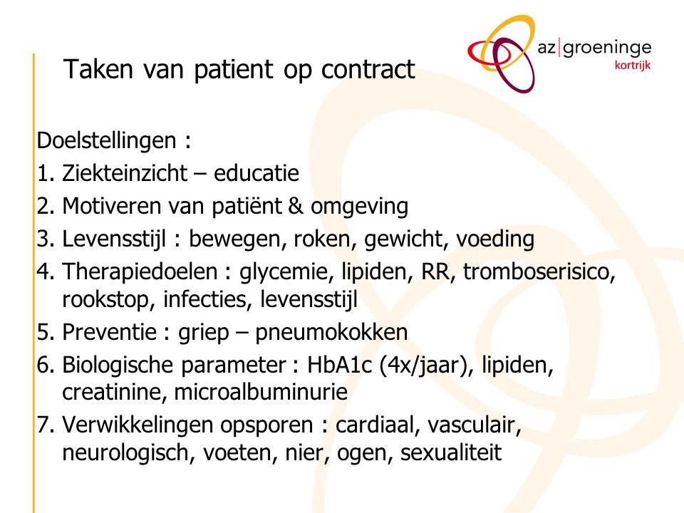 Taken van patient op contract