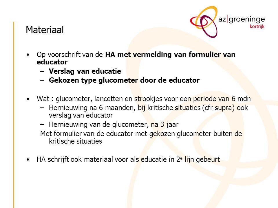 Materiaal Op voorschrift van de HA met vermelding van formulier van educator. Verslag van educatie.