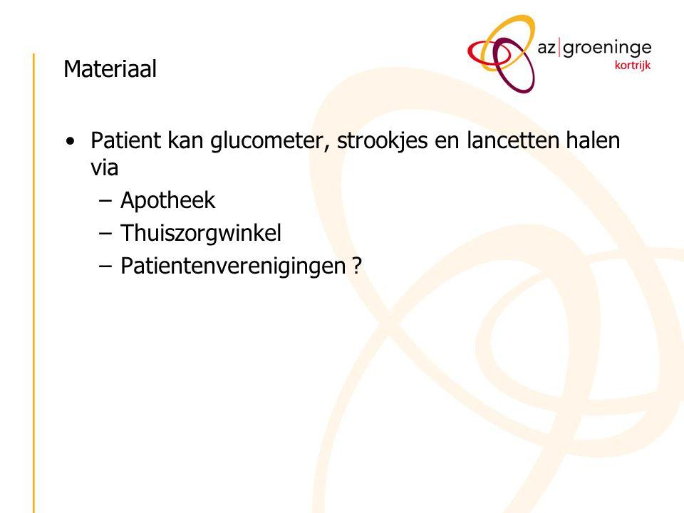 Materiaal Patient kan glucometer, strookjes en lancetten halen via