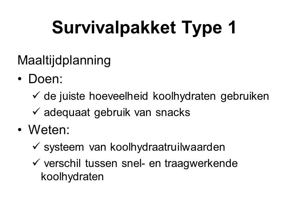 Survivalpakket Type 1 Maaltijdplanning Doen: Weten: