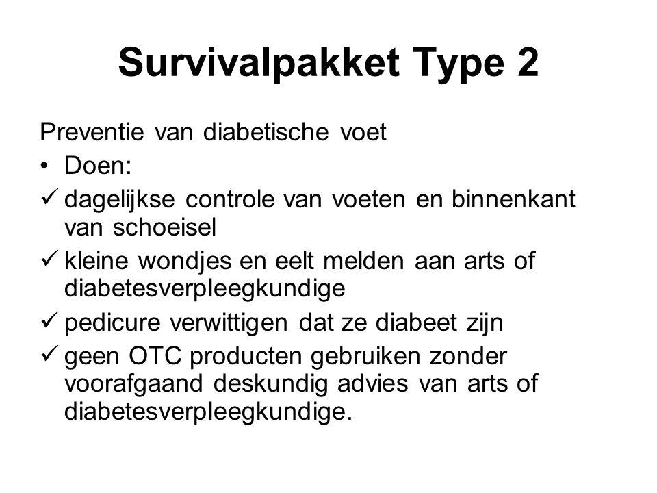 Survivalpakket Type 2 Preventie van diabetische voet Doen: