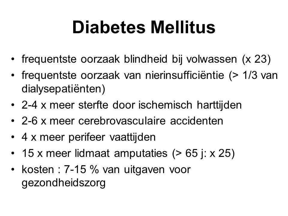 Diabetes Mellitus • frequentste oorzaak blindheid bij volwassen (x 23)
