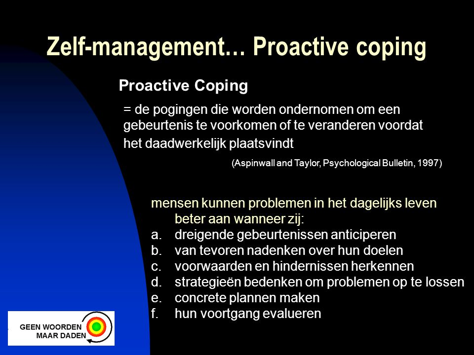 Zelf-management… Proactive coping