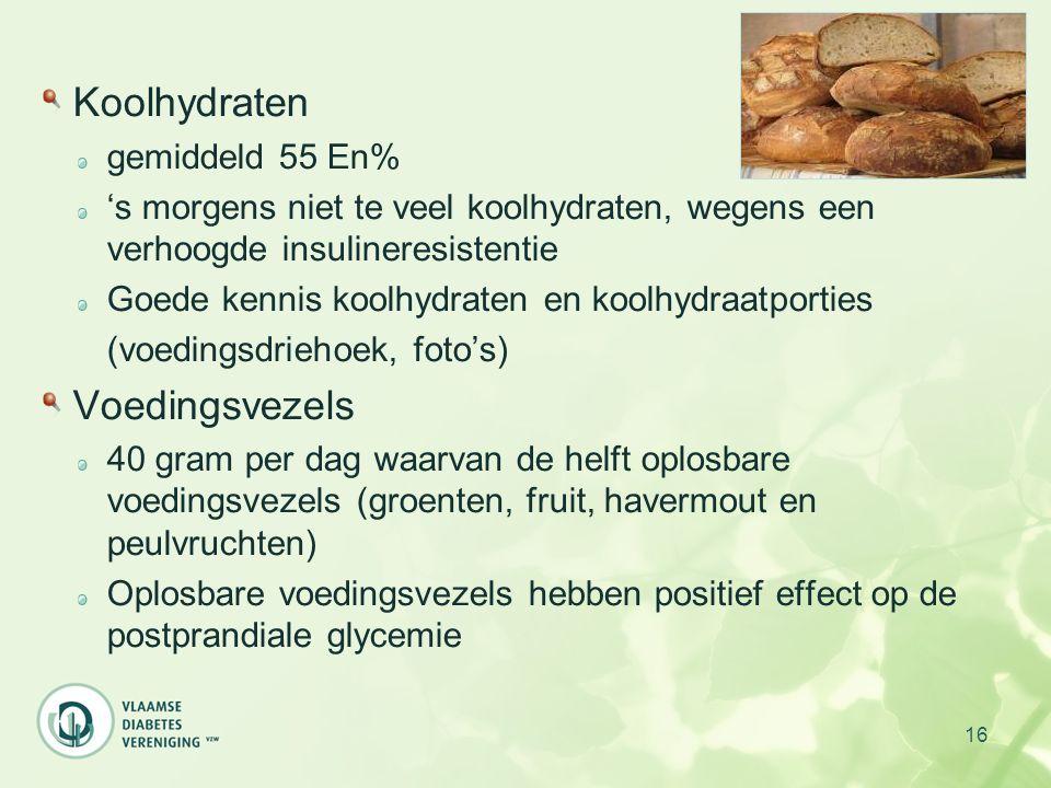 Koolhydraten Voedingsvezels gemiddeld 55 En%