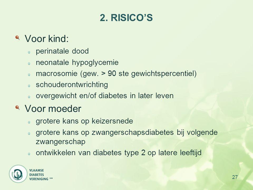 2. RISICO'S Voor kind: Voor moeder perinatale dood