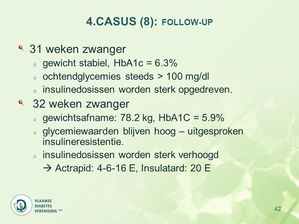 4.CASUS (8): FOLLOW-UP 31 weken zwanger 32 weken zwanger