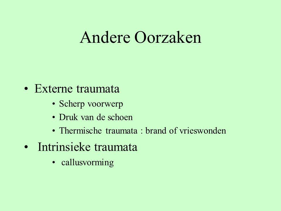 Andere Oorzaken Externe traumata Intrinsieke traumata Scherp voorwerp