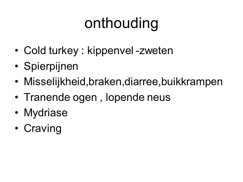 onthouding Cold turkey : kippenvel -zweten Spierpijnen