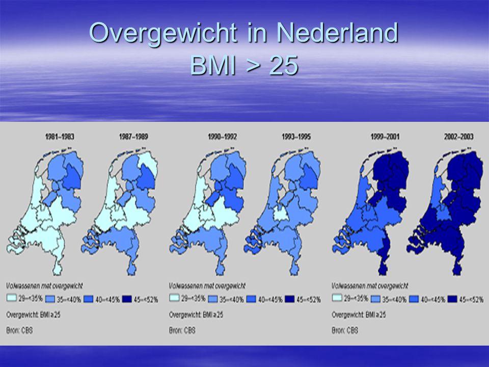 Overgewicht in Nederland BMI > 25