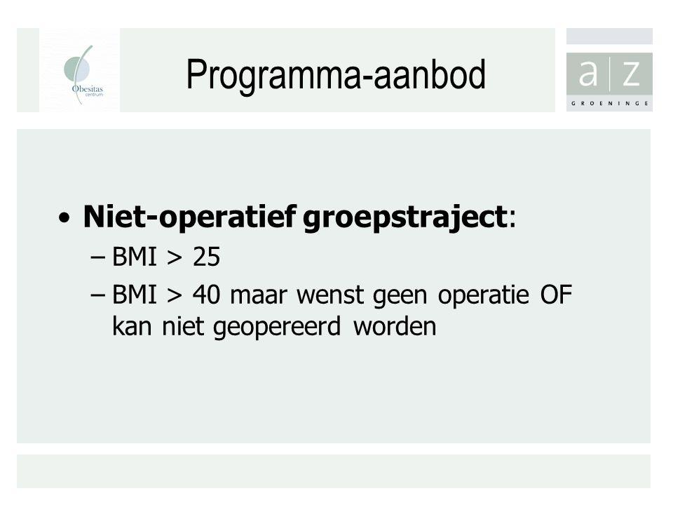 Programma-aanbod Niet-operatief groepstraject: BMI > 25