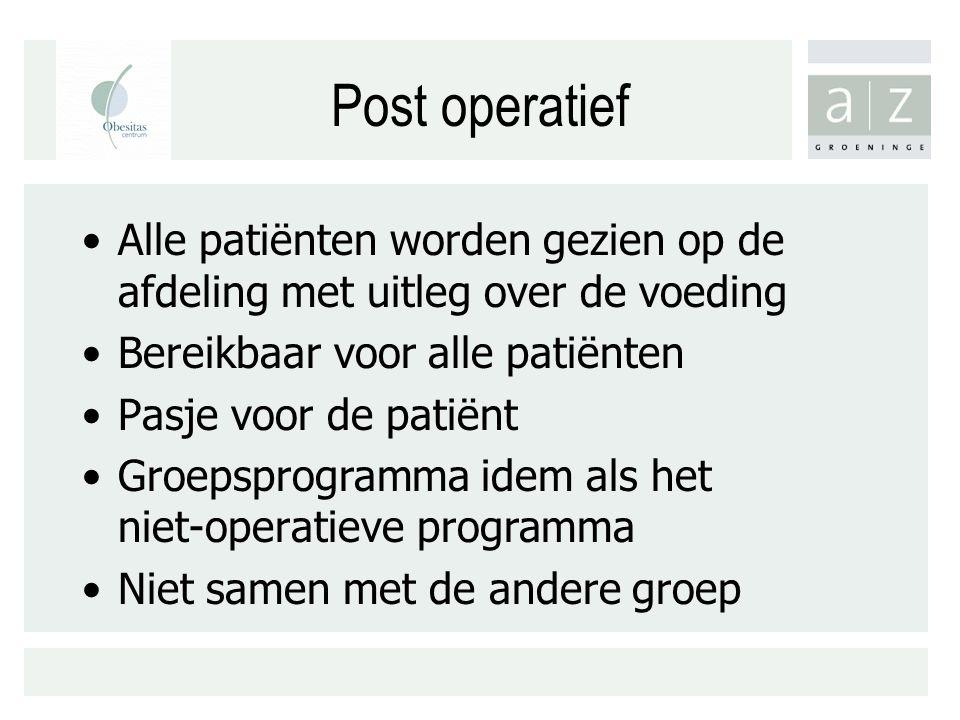 Post operatief Alle patiënten worden gezien op de afdeling met uitleg over de voeding. Bereikbaar voor alle patiënten.