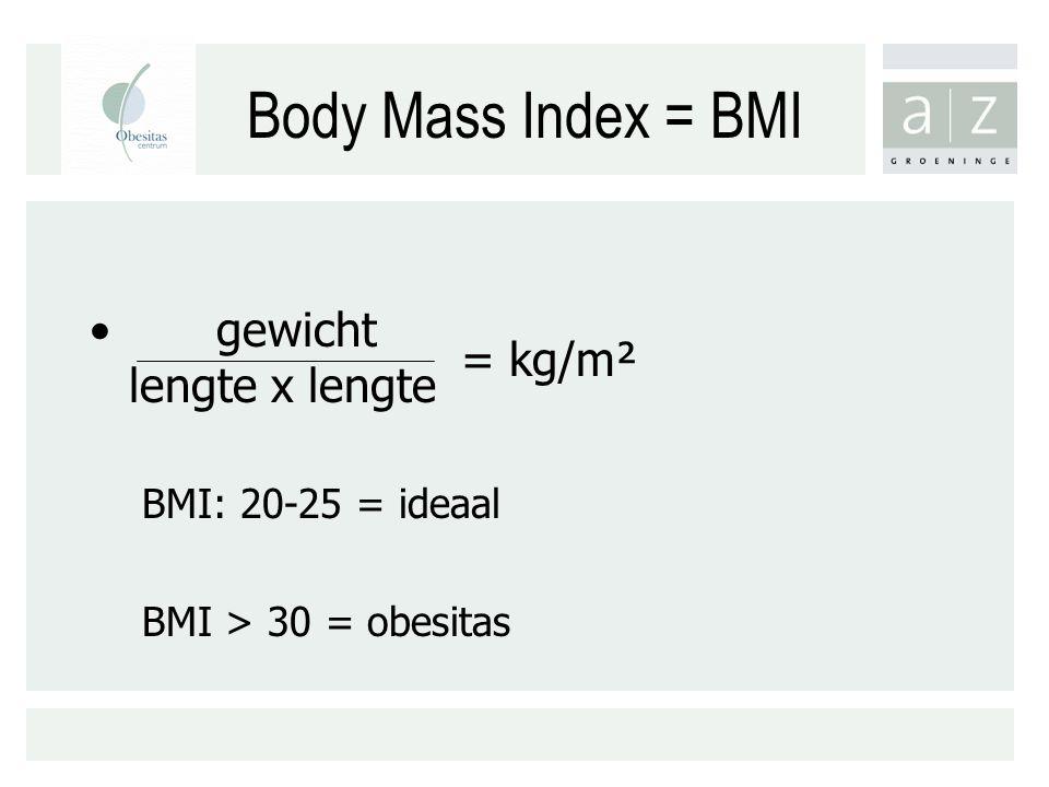 Body Mass Index = BMI gewicht lengte x lengte = kg/m²